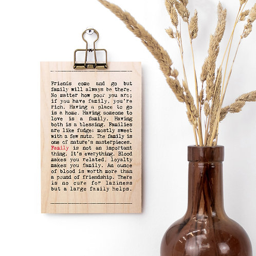 Family Quotes Gift Mini Wooden Sign with Hanger