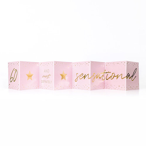 Sensational 60th Birthday Mini Pink Concertina Card