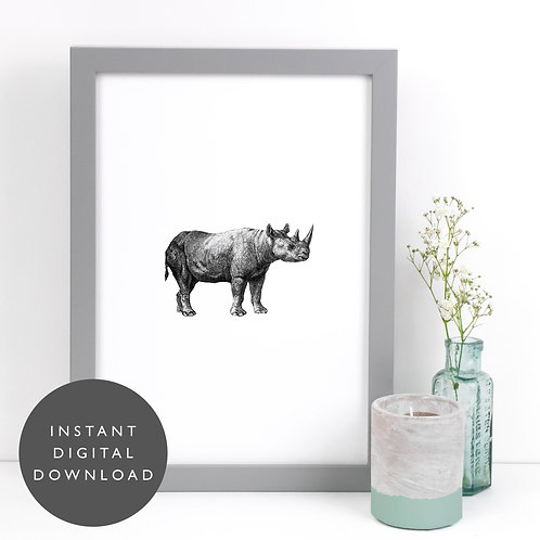 Safari Animal Rhino A4 Printable Nursery Wall Art [DOWNLOAD ONLY]