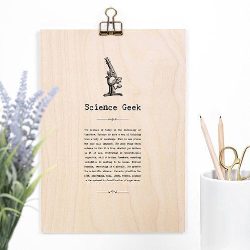 Science Geek Wooden Sign with Hanger