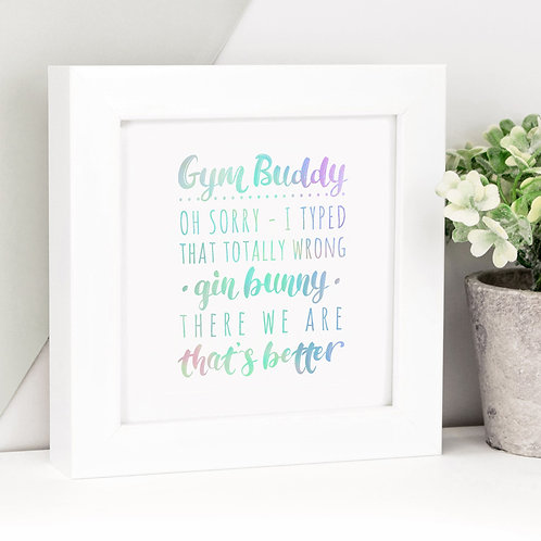 Gym or Gin Funny Holographic Framed Print
