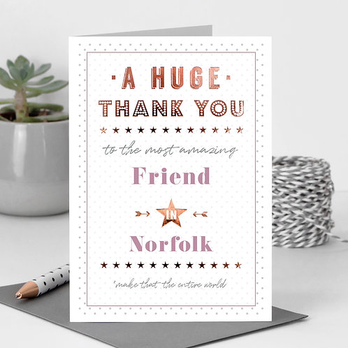 Thank You Dotty Personalised Card in Pink x 6
