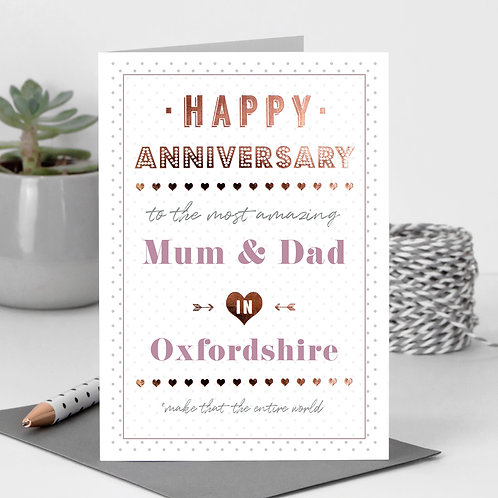 Happy Anniversary Dotty Personalised Card in Pink x 6
