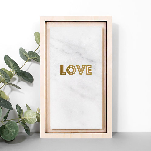 LOVE Metallic Gold Marble Plaque