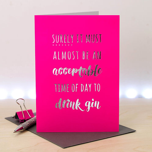 Silver & Pink Gin Birthday Card x 6