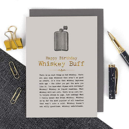 Whiskey Luxury Foil Birthday Card with Quotes