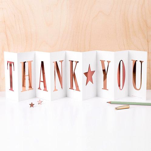 Sparkling Metallic 'THANK YOU' Foil Concertina Card