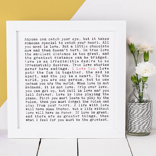 I Love You Wise Words Quotes Print