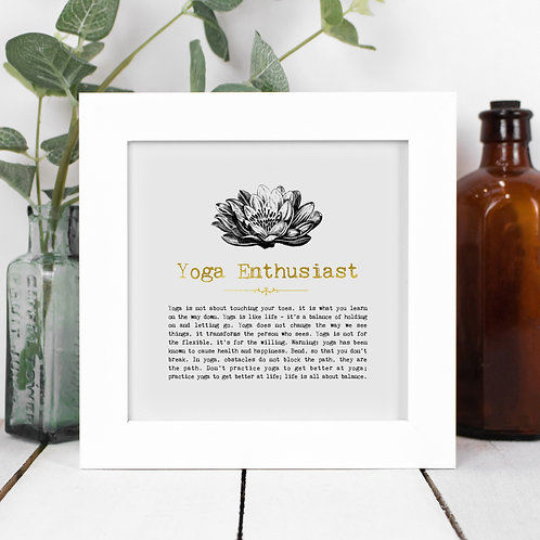 Yoga Enthusiast Personalised Framed Quotes Print