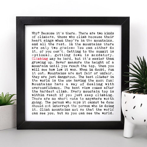 Climbing Wise Words Quotes Print x 3