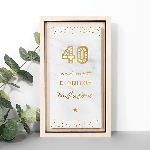 40th Birthday Gold Marble Stone Plaque