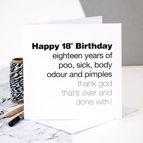 Funny 18th Birthday Card | Body Odour x 6