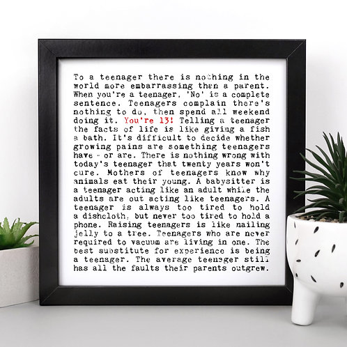 13th Birthday Quotes Wall Art Gift for Teens
