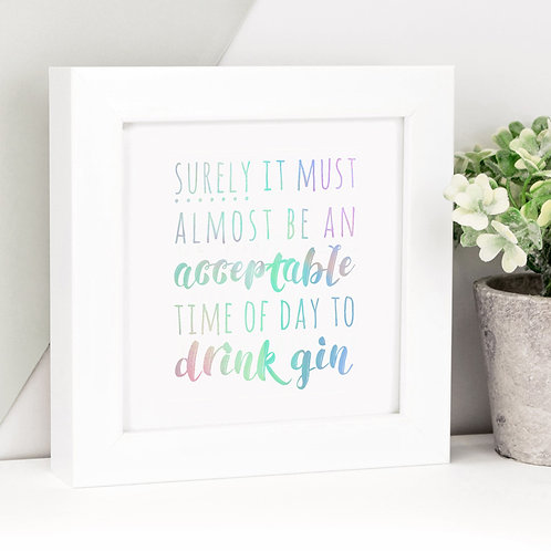 Gin O'Clock Rainbow Holographic Framed Print