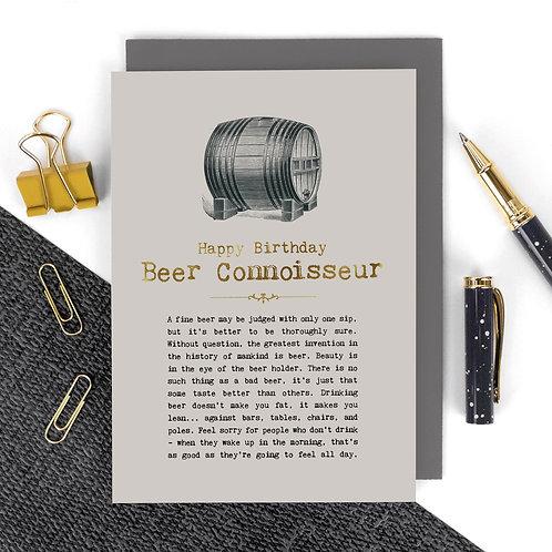 Beer Connoisseur Vintage Foil Birthday Card x 6