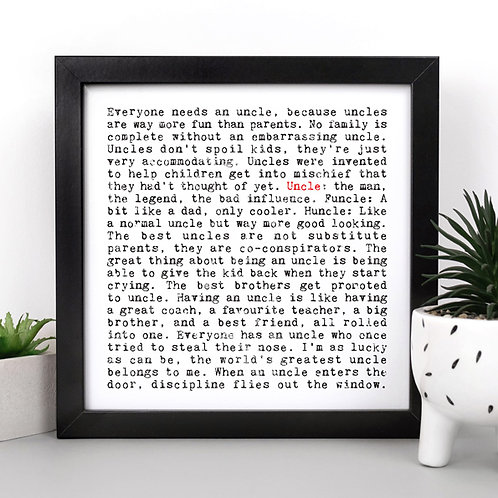 Gift for Uncle Personalised Print for Him
