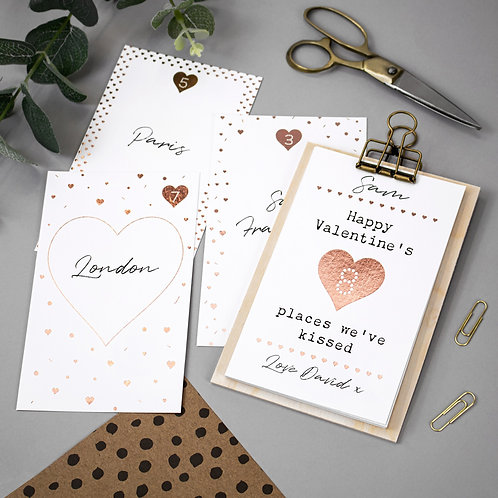 Personalised Places We've Kissed Cards with Hanger