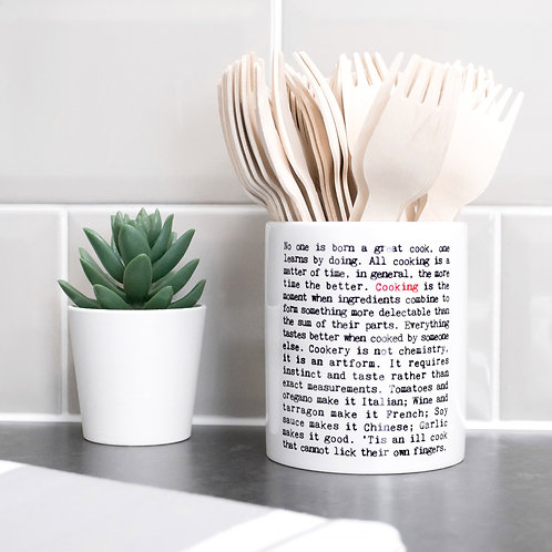 Cooking Quotes Ceramic Storage Pot for Foodies