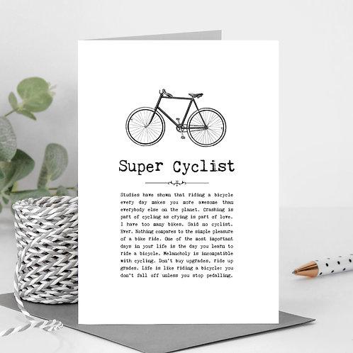 Super Cyclist Vintage Words Greeting Card x6