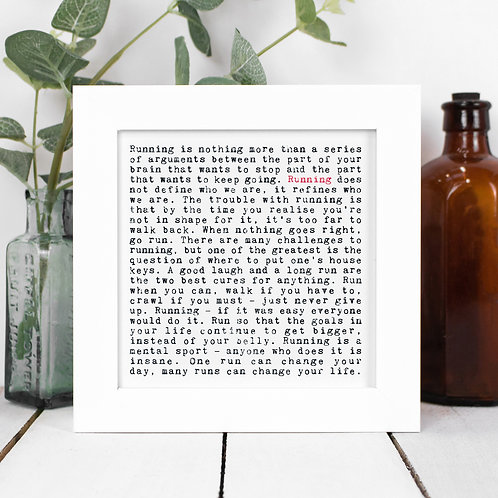 Running Quotes Framed Print in a Gift Box