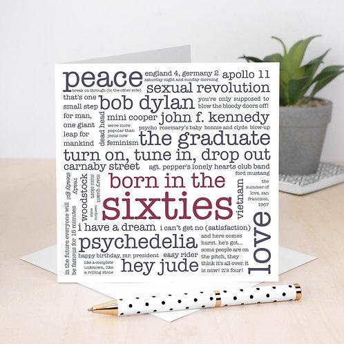 Born in the Sixties 60th Birthday Word Cloud Card x 6