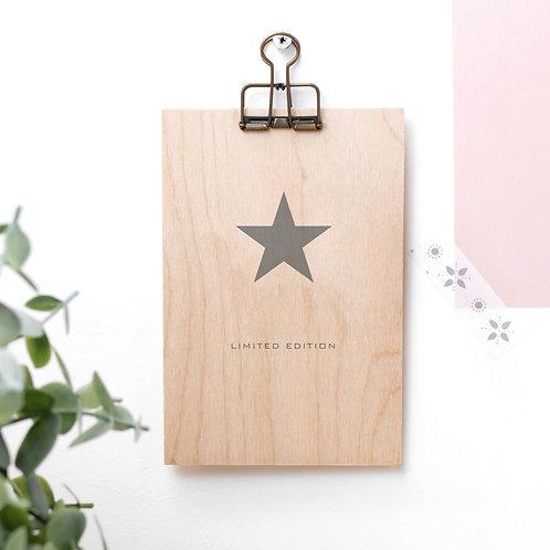 Grey Star Wooden Plaque with Hanger x 3