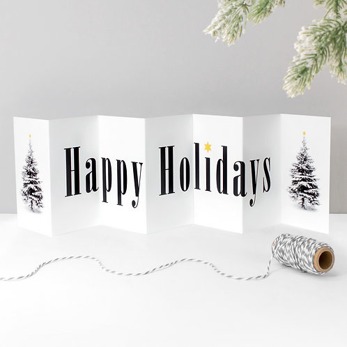 Happy Holidays Fold-Out Banner Christmas Card