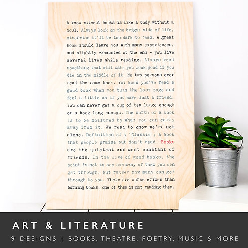 Wise Words ART & LITERATURE Wooden Plaques x 3