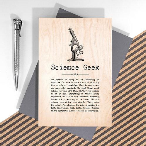 Science Geek Wooden Keepsake Card for Scientists