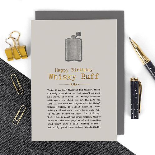 Whisky or Whiskey Vintage Foil Birthday Card x 6
