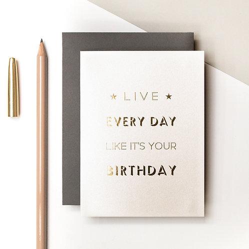 Birthday Every Day Mini Metallic Card | Precious Metals