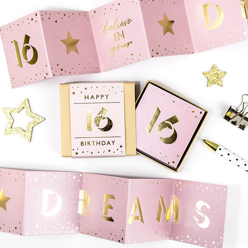 Matchbox 16th Birthday Dreams Pink and Gold Concertina Card