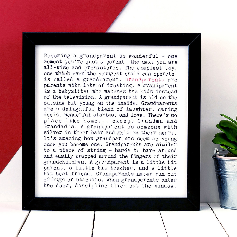 Grandparents Wise Words Quote Print
