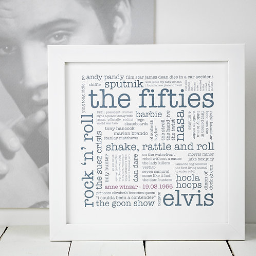 70th Birthday Gift 'Fifties' Decade Personalised Print