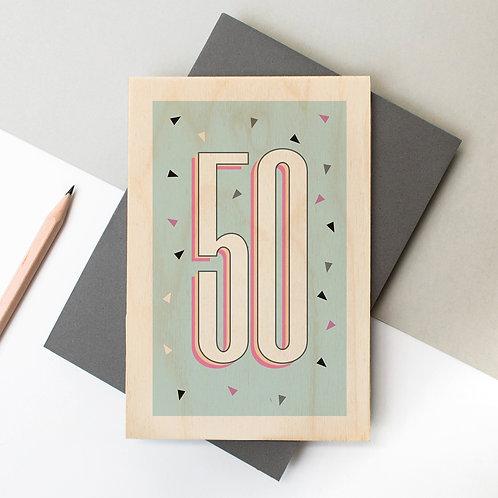 50th Birthday Funky Confetti Wooden Age Card