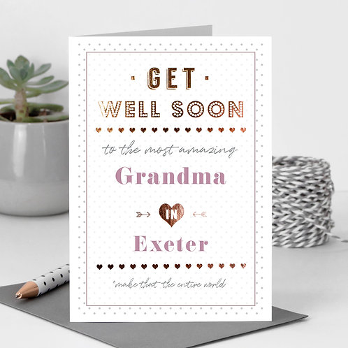 Get Well Dotty Personalised Card in Pink x 6