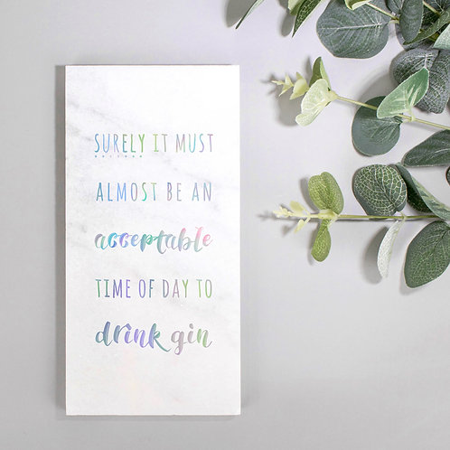 Drink Gin Holographic Foil Stone Plaque
