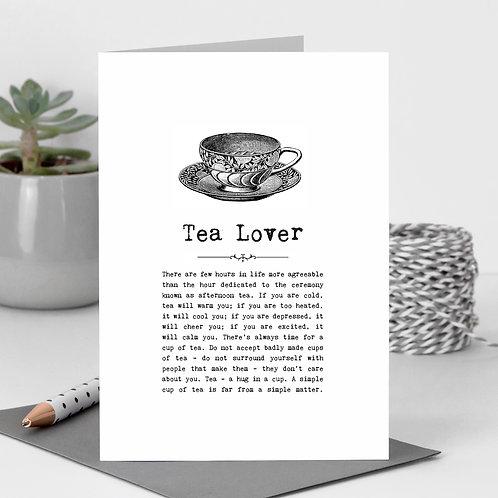 Tea Lover Vintage Words Greeting Card x6