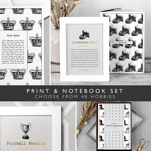 Favourite Hobby Notebook and Print Set