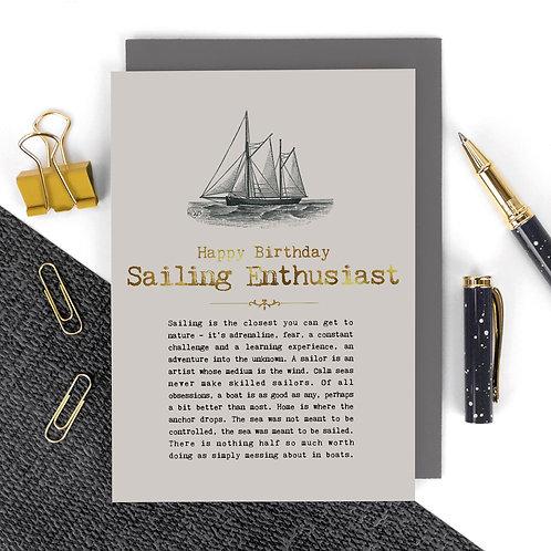 Sailing Enthusiast Vintage Foil Birthday Card x 6