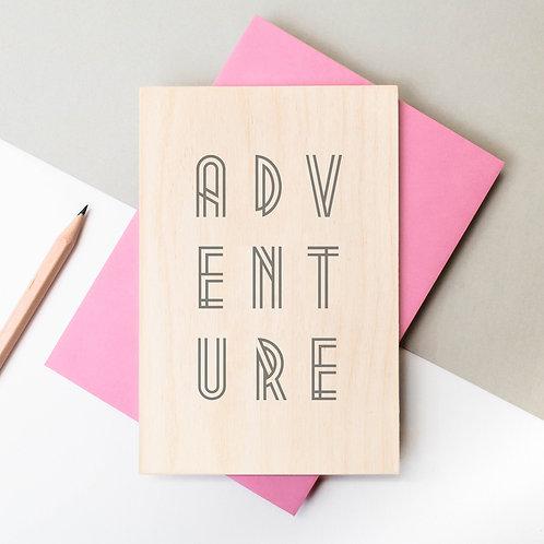 ADVENTURE Inspiring Wooden Postcard