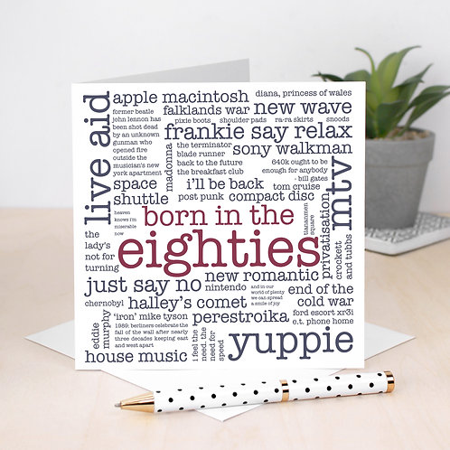 Born in the Eighties 40th Birthday Word Cloud Card x 6