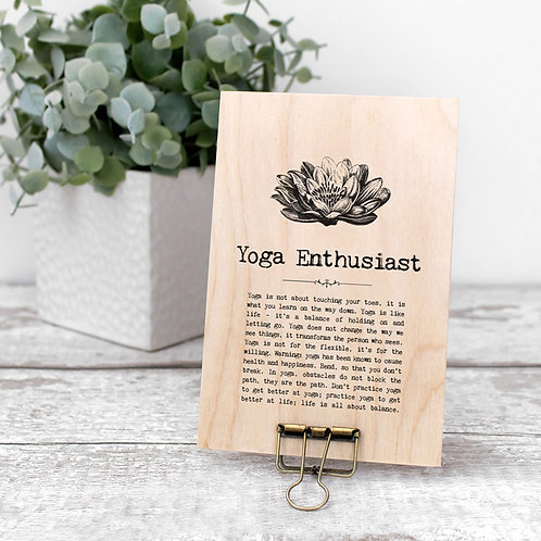 Yoga Quotes Wooden Sign with Hanger