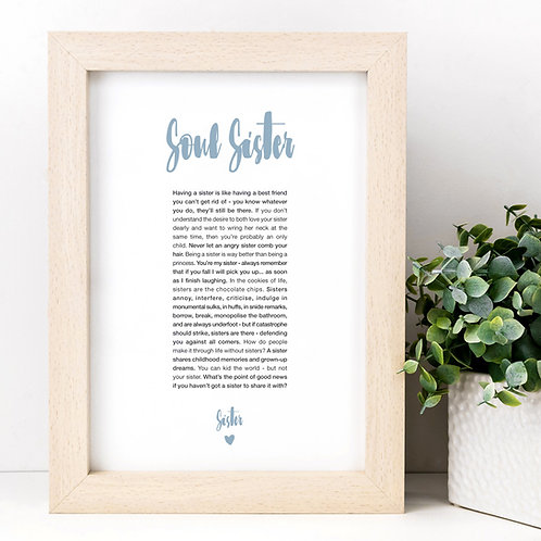 Soul Sister A4 Sibling Quotes Print