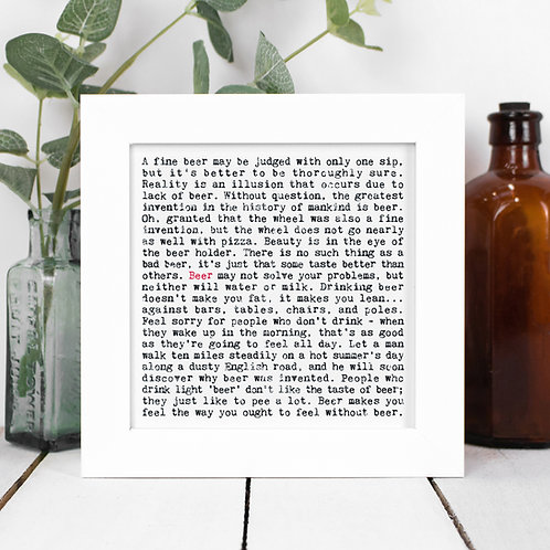 Beer Quotes Framed Print in a Gift Box