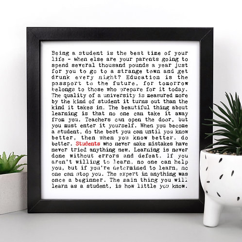 Students | Wise Words Quotes Print for University