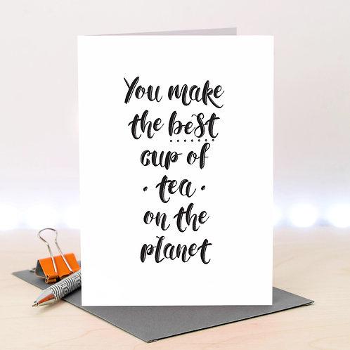 Best Cup of Tea Monochrome Love Card x 6