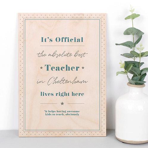 Best Teacher Personalised Dotty Wooden Plaque in Blue x 3