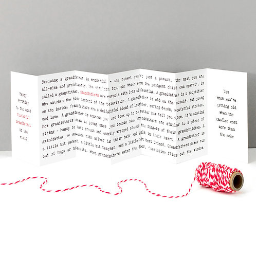 Wonderful Grandfather Fold-Out Concertina Birthday Card