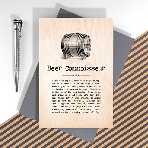 Beer Connoisseur Personalised Wooden Keepsake Card
